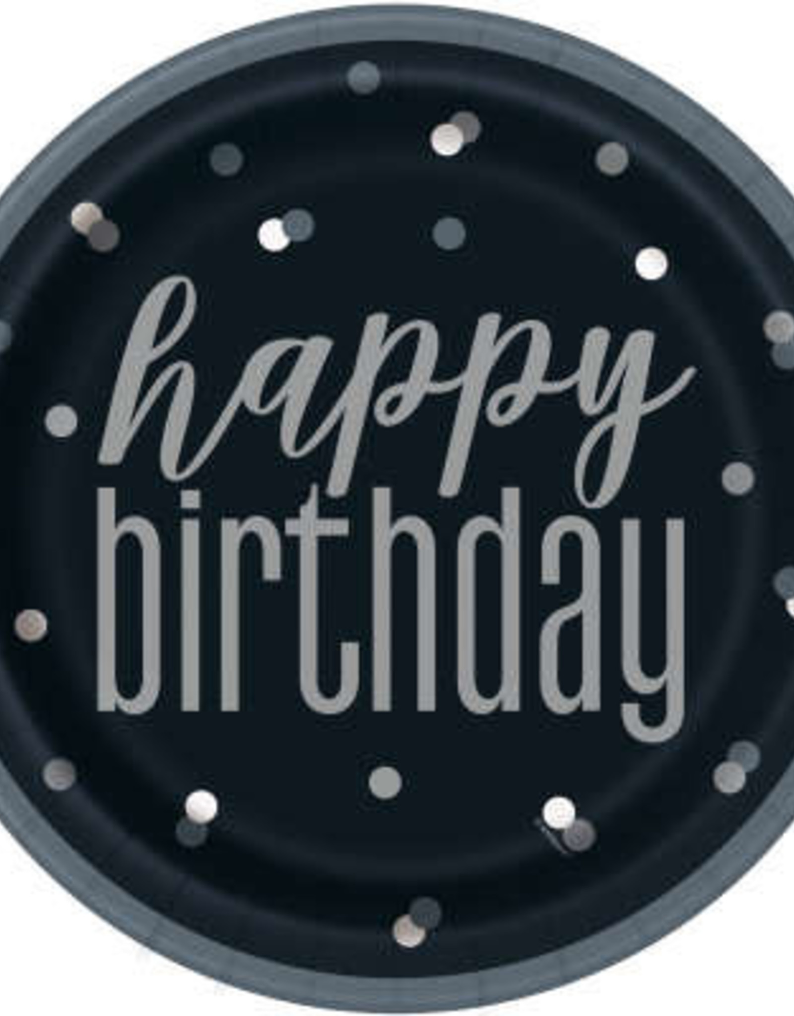 "Glitz Black & Silver Happy Birthday 9"" Plates"