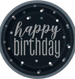 "Glitz Black & Silver Happy Birthday 9"" Plates"
