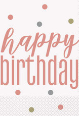 Glitz Rose Gold Happy Birthday Luncheon Napkins 16ct