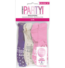 Glitz Pink, White & Purple 'Happy Birthday' Latex Pack of 6