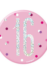 Glitz Pink 16 Birthday Pin