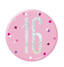 Glitz Pink 16 Birthday Pin
