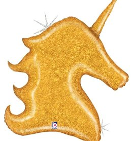 Gold Sparkly Unicorn Mylar 38""