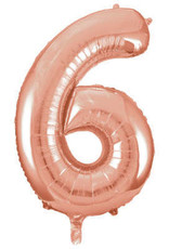 """34"""" Rose Gold Number 6 Balloon"""