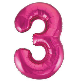 "34"" Hot Pink Number 3 Balloon"