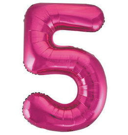 "34"" Hot Pink Number 5 Balloon"
