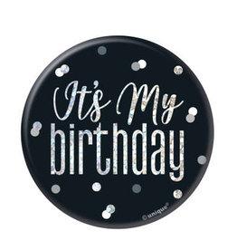 Glitz Black & Silver 'It's My Birthday' Pin