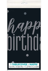 Glitz Black & Silver Happy Birthday 6FT Plastic Tablecloth