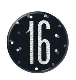 Glitz Black & Silver '16' Pin