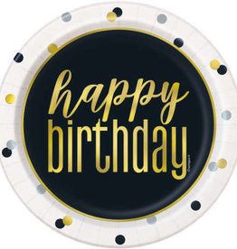 "Metallic 'Happy Birthday' Dessert Plate 7"" 8ct"