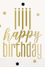 Metallic Happy Birthday Beverage Napkins 16ct