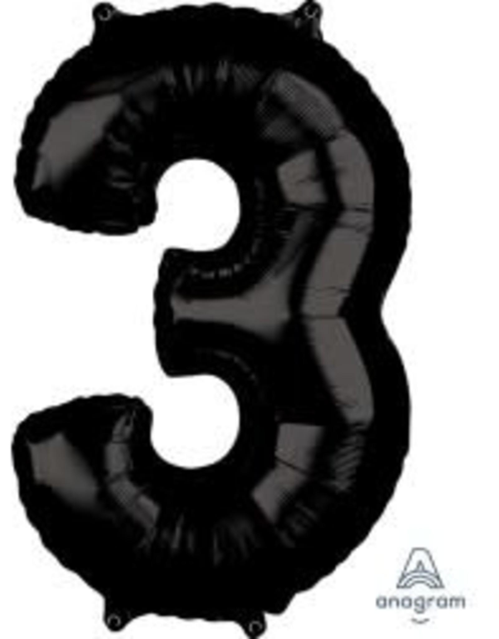 "34"" Black Number 3 Balloon"