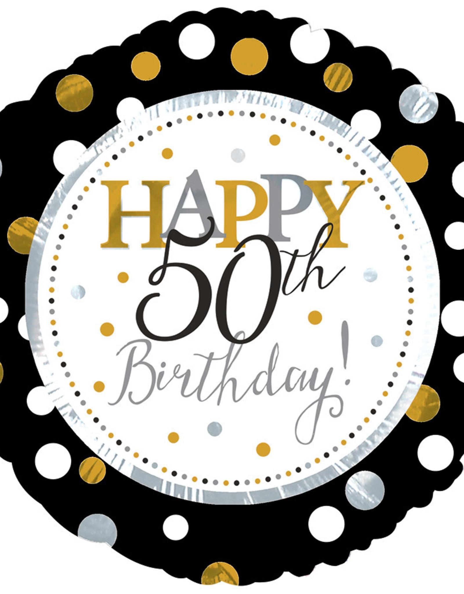 """'Happy 50th Birthday"""" Black & Gold 18"""" Mylar"""