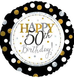 "'Happy 50th Birthday"" Black & Gold 18"" Mylar"