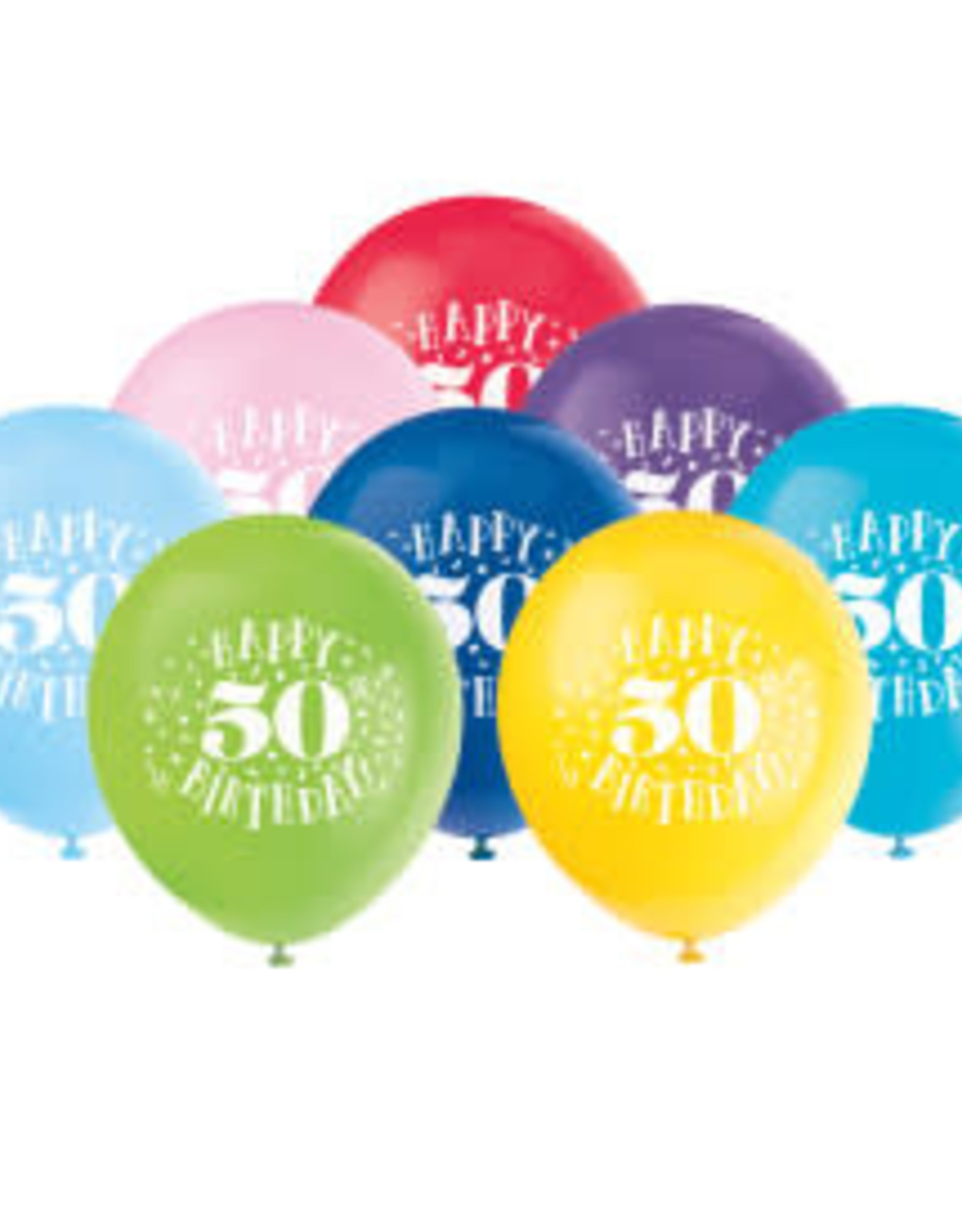 "Happy 50th Birthday 12"" Latex Balloons 8ct"