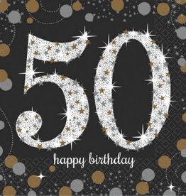 50th Birthday Black & Gold Sparkling Celebration Beverage Napkins