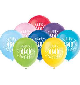 'Happy 60th Birthday' Multicolour Latex 8pk
