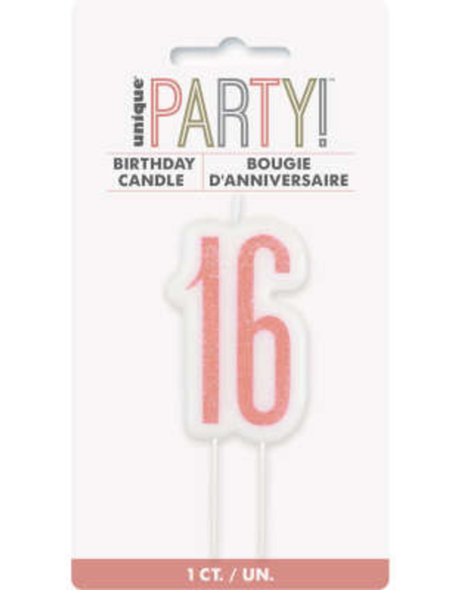 Glitz Rose Gold '16' Birthday Candle