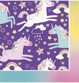 Purple Unicorn Beverage Napkins