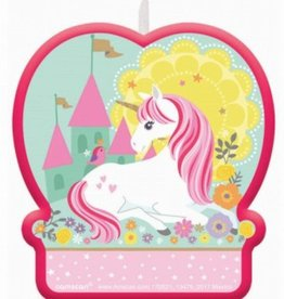 Pink Unicorn Wax Birthday Candle