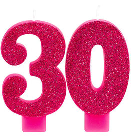 30th Birthday Glitter Pink Candles