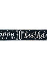 Glitz Black 30th Birthday Banner 9FT