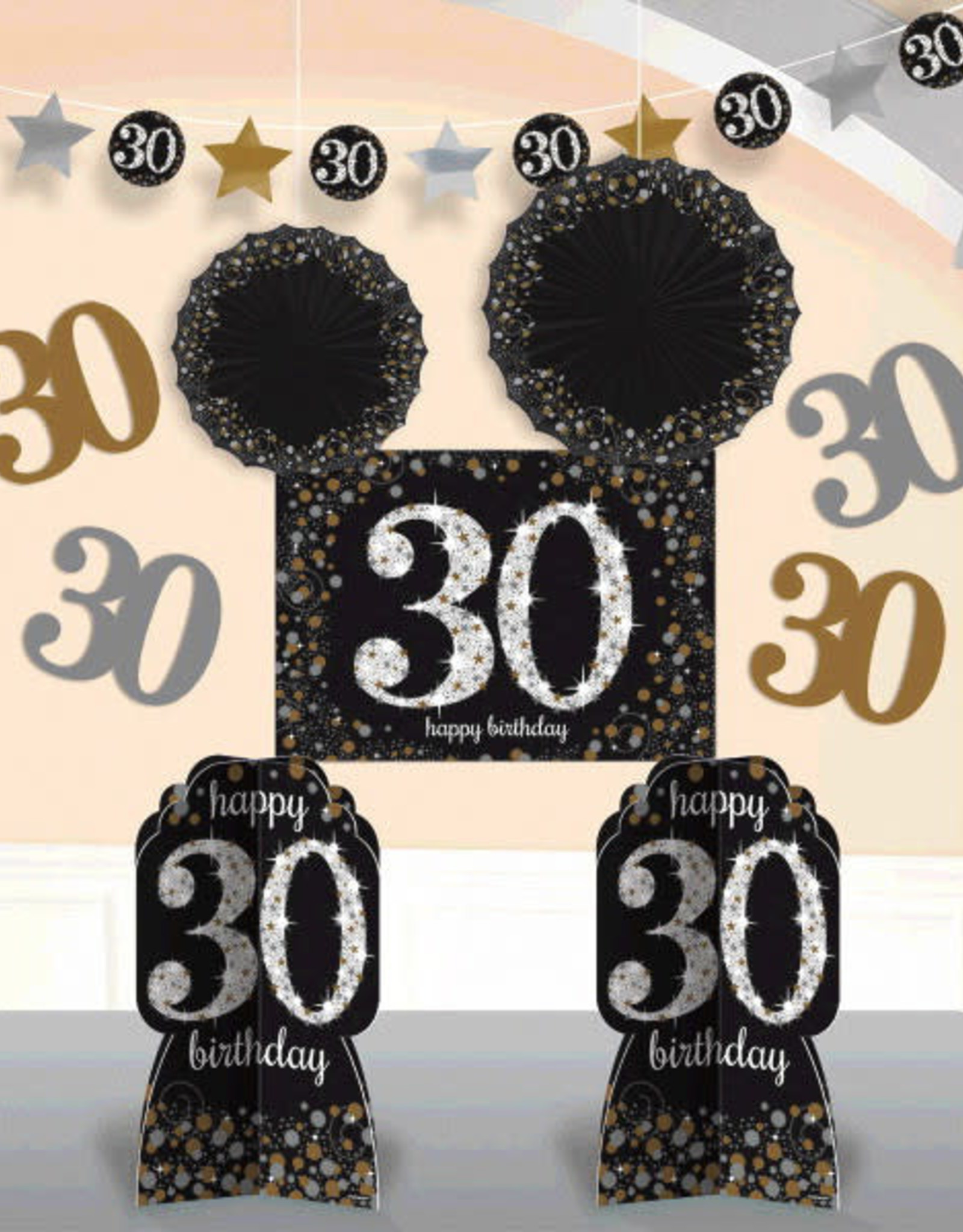 30th Birthday Black & Gold Room Decorating Kit