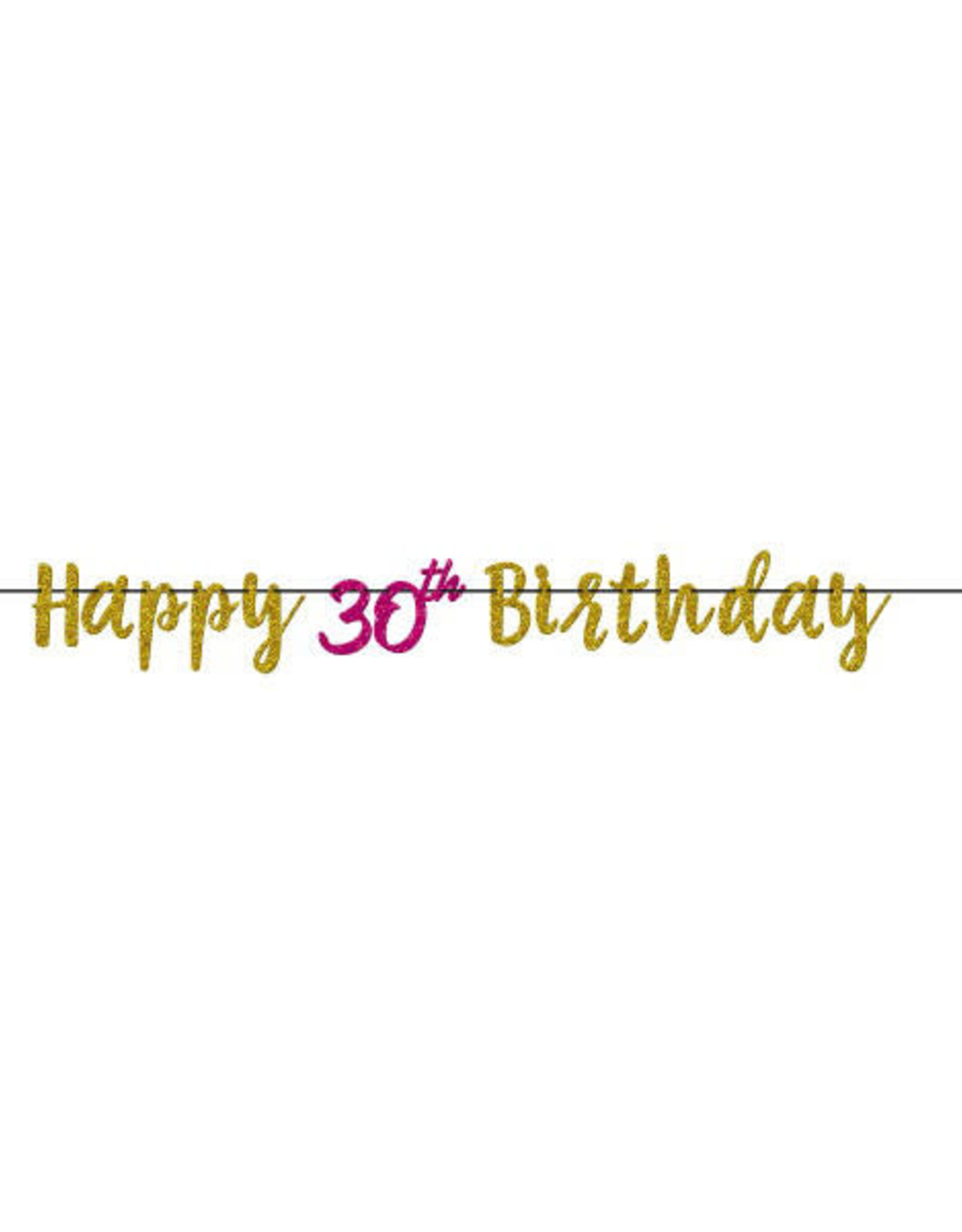 Glitter Pink & Gold 30th Birthday Letter Banner