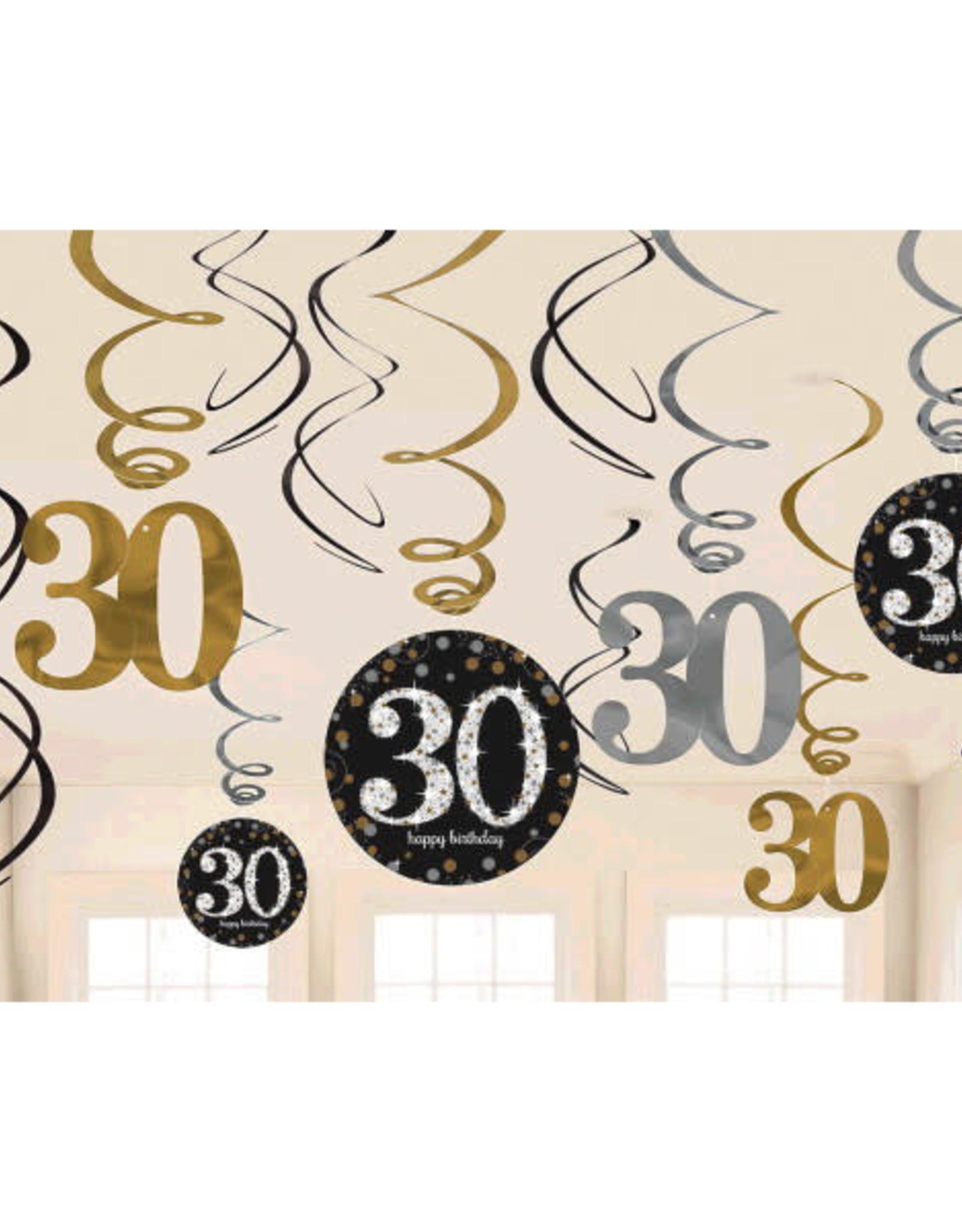 30th Birthday Swirl Decorations Sparkling Celebration