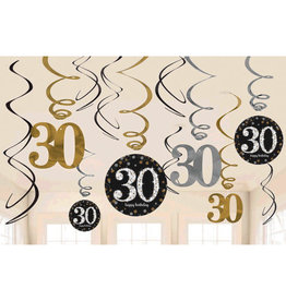 30th Birthday Swirl Decorations Sparkling Celebration