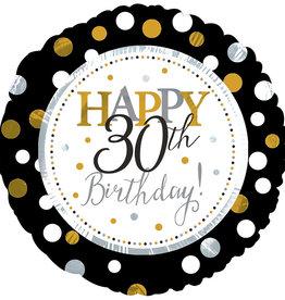 """Black & Gold 'Happy 30th Birthday' 18"""" Mylar"""