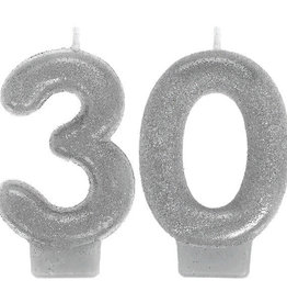 Glitter Silver Number 30 Birthday Candles