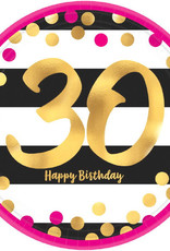 Metallic Pink & Gold 30th Birthday Dessert Plates