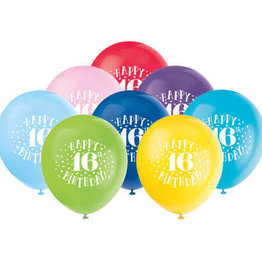 "'Happy 16th Birthday' 12"" Latex Balloons 8ct"