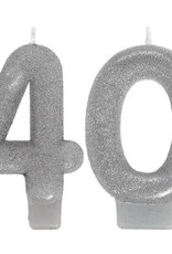 Glitter Silver Number 40 Birthday Candles