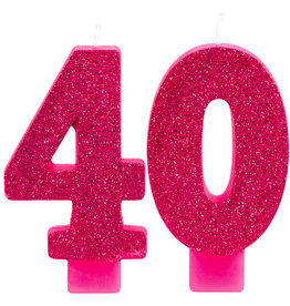 40th Glitter Pink Birthday Candles