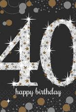 40th Birthday Beverage Napkins Sparkling Celebration