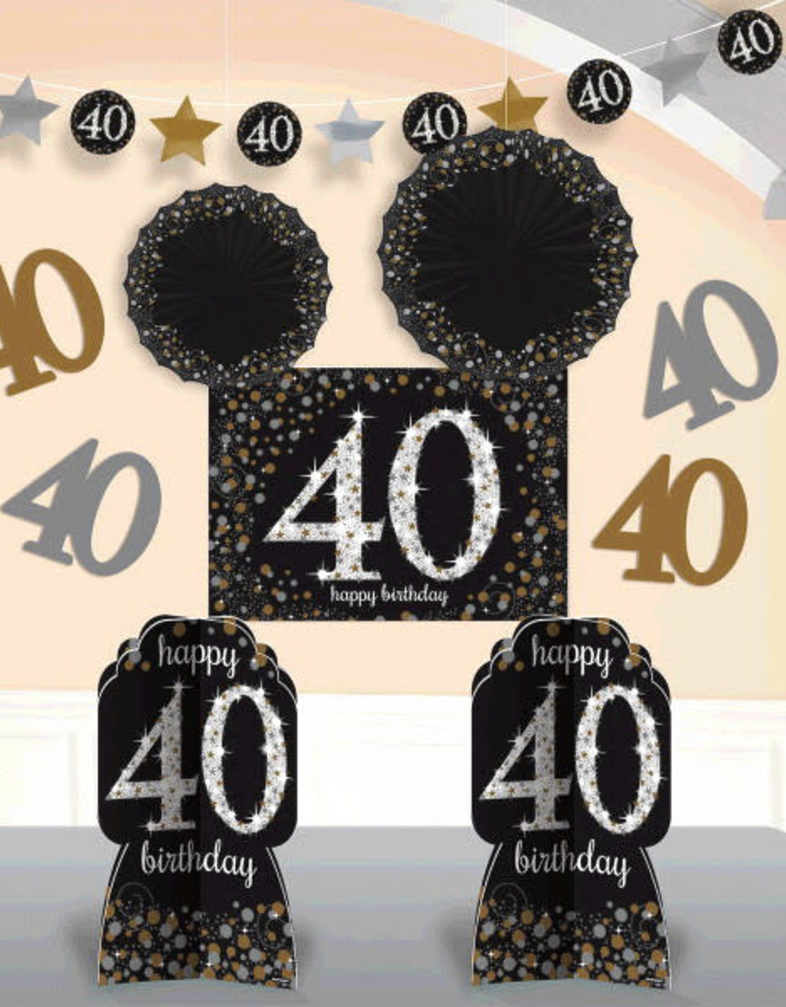 40th Birthday Black & Gold Sparkling Celebration Room Decorating Kit