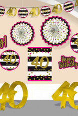 40th Birthday Pink & Gold Room Decorating Kit