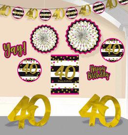 40th Birthday Pink & Gold Room Decorating Kit