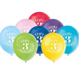 "'Happy 3rd Birthday' 12"" Latex Balloons 8ct"