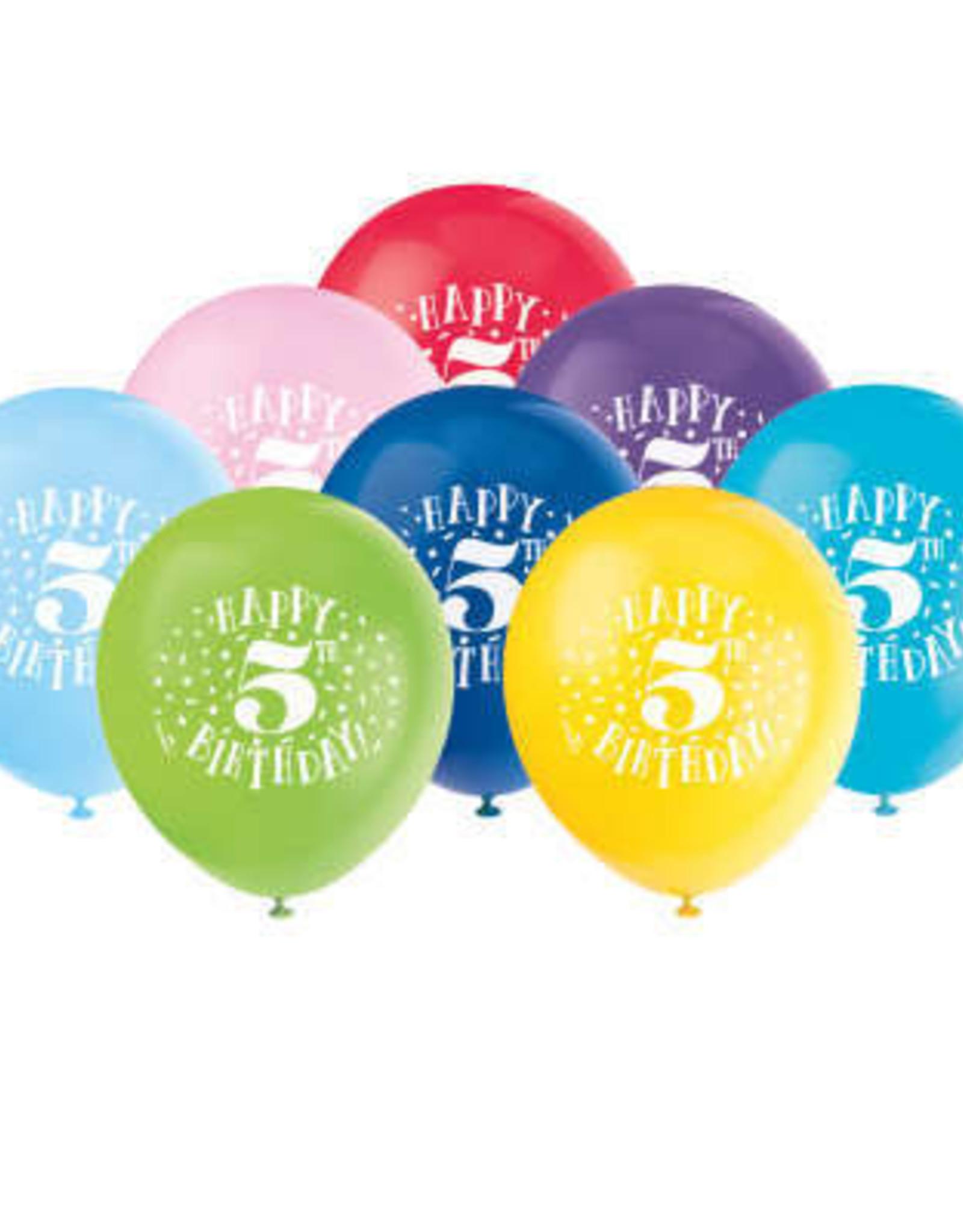 "'Happy 5th Birthday' 12"" Latex Balloons 8ct"
