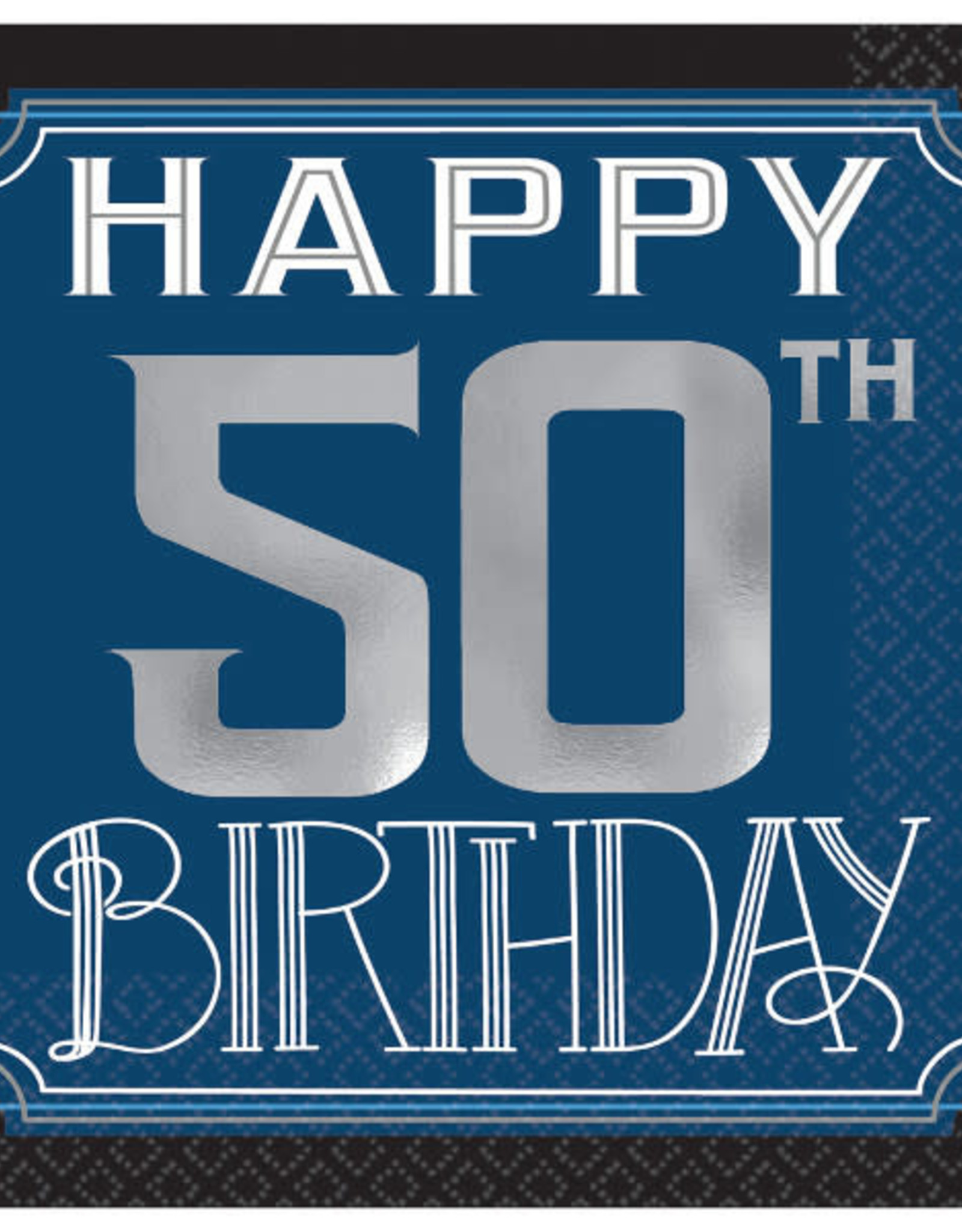 'Happy 50th Birthday' Foil Stamped Navy Beverage Napkins