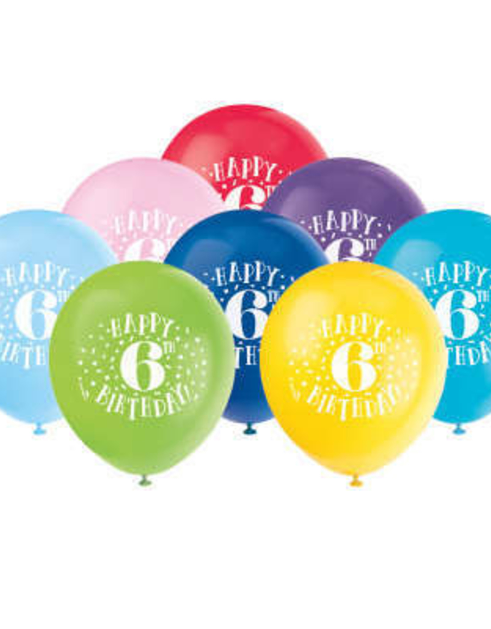 "'Happy 6th Birthday' 12"" Latex Balloons 8ct"