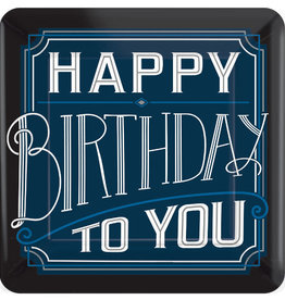 "'Happy Birthday To You' Navy 7"" Square Dessert Plates"