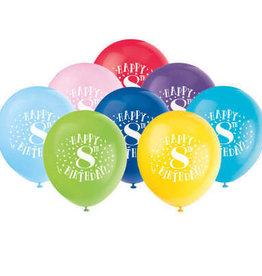 "'Happy 8th Birthday' 12"" Latex Balloons 8ct"