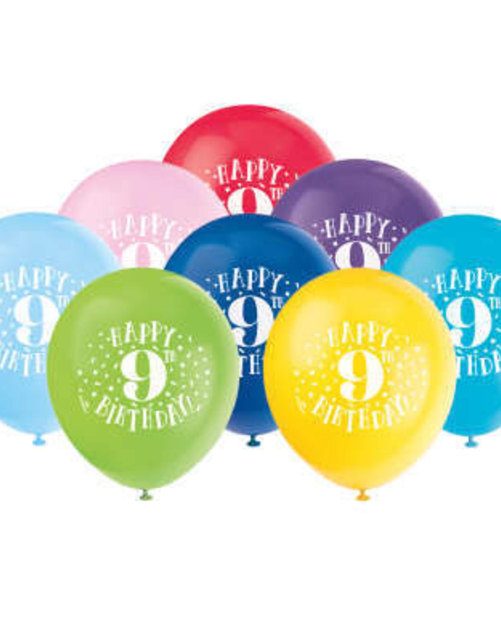 "'Happy 9th Birthday' 12"" Latex Balloons 8ct"