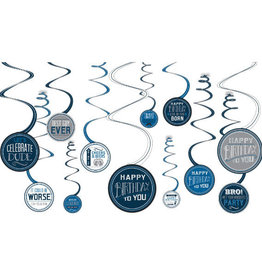 'Happy Birthday Dude' Value Pack Spiral Decorations