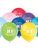 "'Happy 10th Birthday' 12"" Latex Balloons 8ct"