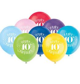 "'Happy 10th Birthday' 12"" Latex Balloons 8ct"